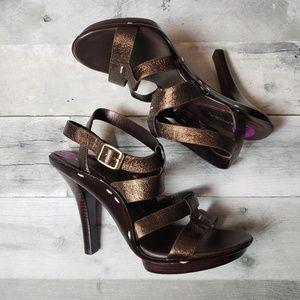 NWT Via Spiga Bronze Leather Strappy Heels